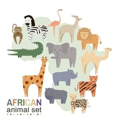 African animals in geometric flat style vector
