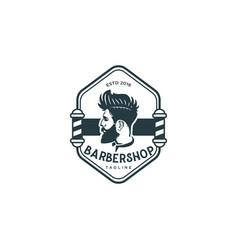 barber shop retro vintage logo design template vector image