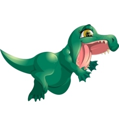 beautiful green crocodile vector image