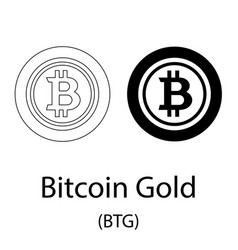 bitcoin gold black silhouette vector image