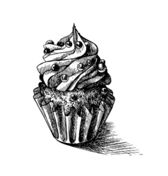 Black and white sketch of cute creamy sweet vector