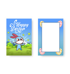 blue bunny with a face mask is standing in nature vector image