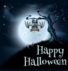 Blue halloween moon bat background vector