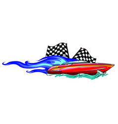 boat race icon with fire vector image