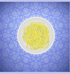 Boiled floury product spaghetti pattern vector
