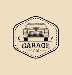Car repair logo with retro automobile vector