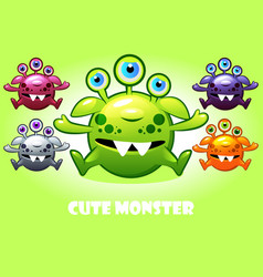 cartoon cute three-eyed monster in vector image