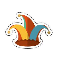 Cartoon jester hat celebration ornament vector