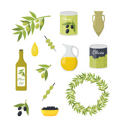 cartoon olive oil elements set vector image
