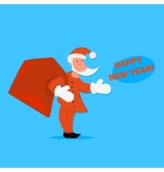Cartoon Santa Claus with a bag of gifts in vector