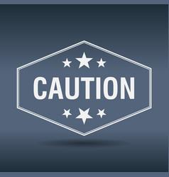 Caution hexagonal white vintage retro style label vector