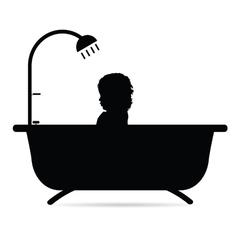 Child in bathtub vector