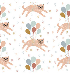 childish seamless pattern with hand-drawn cats vector image