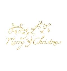 Christmas reindeer with text Merry Christmas vector image