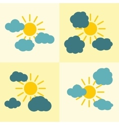 Clouds flat icons on yellow background with sun vector