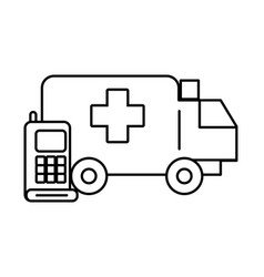 Communicator radio military force with ambulance vector