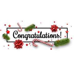 congratulations christmas banner with bows vector image