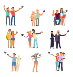 couples making photo selfie vector image