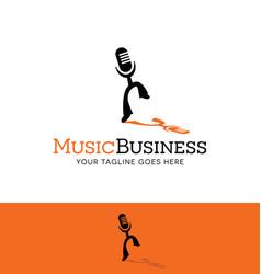 dancing microphone logo vector image