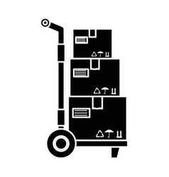 delivery cart with boxes vector image