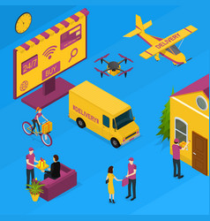 delivery logistic service concept 3d isometric vector image