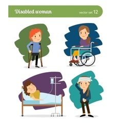Disabled woman characters vector