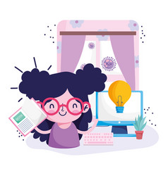 Education online cute girl with book computer vector