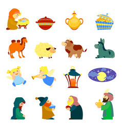 Epiphany icon set cartoon style vector