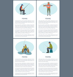Fishing activity posters set vector