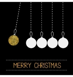 Five hanging christmas ball toy Dash line White vector