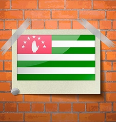 Flag of Abkhazia Flat design scotch taped to a red vector