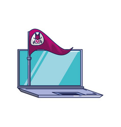 flag with bug virus infection and laptop vector image