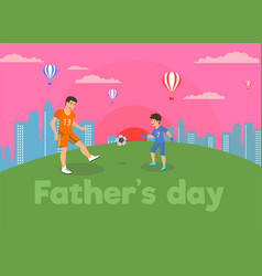 flat banner fathers day family in park vector image