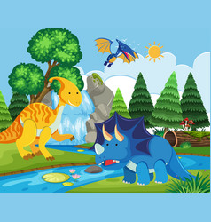 Flat dinosaur in nature vector