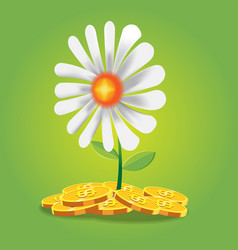 flower finance coin cartoon vector image