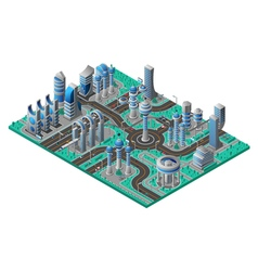 Future City Isometric Composition vector image