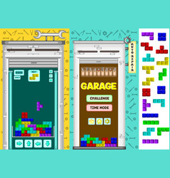 Garage tetris matching game kit vector
