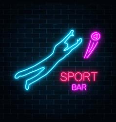 Glowing neon signboard of sport bar on a dark vector