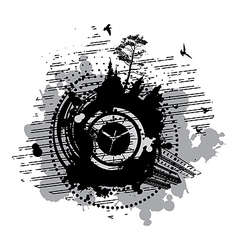 greeting card with a clock vector image