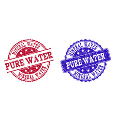 Grunge scratched mineral water pure water seal vector