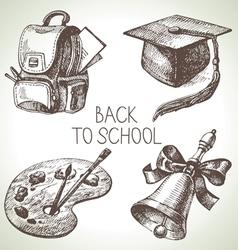 Hand drawn school object set vector