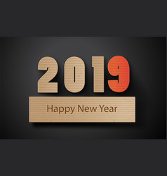 Happy new year 2019 text design with paper cut vector