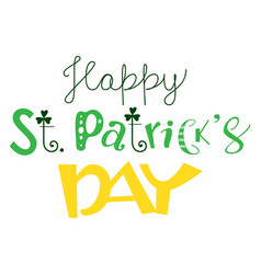 happy st patricks day ornate text greeting card vector image