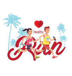 Healthy run man and woman jogging background vector