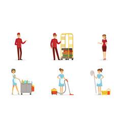 hotel staff set man working as doorman vector image