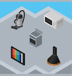 Isometric device set of air extractor television vector