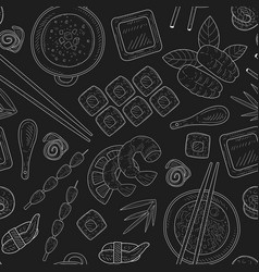 japanese food seamless pattern hand drawn on vector image