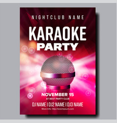 Karaoke poster party flyer karaoke music vector