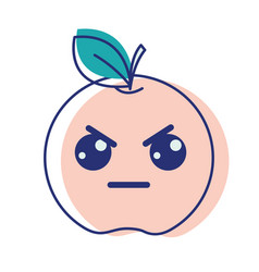 Kawaii nice angry apple fruit vector