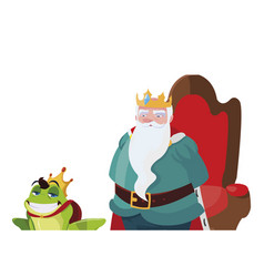 king on throne with toad prince characters vector image